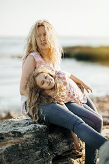 Family (k_maxim) Tags: beach mother daughter family mom happy mum parent child beautiful playing human daughters outdoor love people female young fun caucasian happiness cheerful women teenager mature connection summer woman girl kid feelings outdoors sea ocean smile playful childhood sunny emotional tenderness