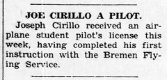 1953 - Joe Cirillo pilot license - Enquirer - 20 Aug 1953