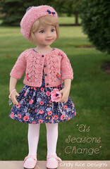 """As Seasons Change"", made for Dianna Effner's Little Darlings. (Cindy Rice Designs) Tags: embroidery cardigan sweater knit littledarlings effner doll dress beret hat"