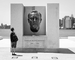 A Great Man (John St John Photography) Tags: fourfreedomspark rooseveltisland eastriver newyorkcity newyork streetphotography candidphotography franklindroosevelt bust sculpture monument skyline nycskyline man peopleofnewyork bw blackandwhite blackwhite blackwhitephotos johnstjohn