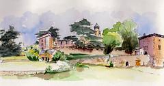 Le château de Montmelas (m.JaKar) Tags: aquarelle carnetdevoyage dessinurbain france insitu usk urbansketchers château villefranche