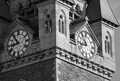 Tempus fugit (cmw_1965) Tags: clock tower clocktower church time flies tempus fugit saint davids neath glamorgan south wales monochrome black white tamron zoom 70300mm masonry architecture victorian historic listed christian stonework detail carving stone shadow light