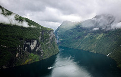 (Rasmus Ink) Tags: norway geiranger fjord sea mountain waterfall boat sky clouds snow landscape view