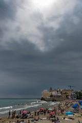 Storm approaching the beach - Sitges in July (patrickdevries2003) Tags: sand sea waves platja playa mediterranean clouds sun beach rain storm cataluña catalunya spain sitges