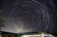A starry cold winter's night (James Dun) Tags: winter sky night stars cold clear weather planes trails photography space composite nikon d7000 brisbane queensland australia smoke chimney