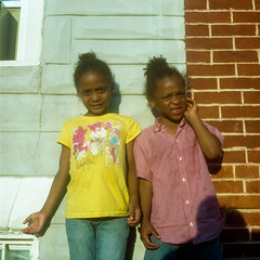 (patrickjoust) Tags: tlr twin lens reflex 120 6x6 medium format c41 color negative film smudge dirty manual focus analog mechanical patrick joust patrickjoust sowebo west baltimore maryland md usa us united states north america estados unidos urban street city people person portrait girls standing kids