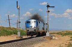 Smokin' Thru The Desert (BravoDelta1999) Tags: amtrak amtk southwestchief 3 ratonsubdivision glorietasubdivision ge p42dc 158 atchisontopekaandsantafe atsf railroad burlingtonnorthernsantafe bnsf railway newmexico semaphore signal colmor