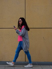 ** (donvucl) Tags: london southbank woman girl figure pink blue phone composition olympusem1 colour street donvucl