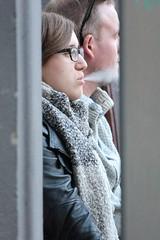 clouds (if you insist) Tags: smoking smoker nicotine exhale eurosmoke female candid cigarette addict tobacco breath glasses gwg