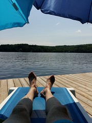 muskoka penlake dock umbrella chaise feet humour water... (Photo: AR_the old guy on Flickr)