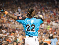 Twins slugger Miguel Sano bats during the 2017 T-Mobile Home Run Derby. (apardavila) Tags: asg hrderby allstargame mlb majorleaguebaseball marlinspark miguelsano tmobilehomerunderby ballpark baseball sports stadium
