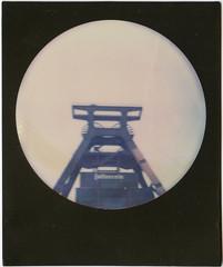 Zeche Zollverein (scrapenbaker) Tags: zeche zollverein essen polaroid impossible round sx70 förderturm turm industrial