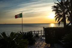 Riviera D'Italia (lncgriffin) Tags: manarola cinqueterre italy italia europe europa italianriviera liguriansea mediterranean history flag seascape sunset palmtree serenity travel sony rx1r zeiss sonnar sonnar35mmf2