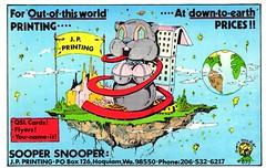 Dirty Doodler #899: Sooper Snooper - Hoquiam, Washington (73sand88s by Cardboard America) Tags: qsl qslcard cb cbradio vintage artistcard washington dirtydoodler