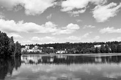 (nnooraa93) Tags: tampere houses sky landscape lake water blackandwhite gray trees tree clouds cloudsky view finland finnishnature reflection mirror windows 1855mm summer 2015 nature naturephotography naturelove day sunnyday suomi suomenluonto