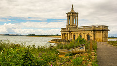 St Mathews Church ..Rutland Water (williamrandle) Tags: rutland rutlandwater england uk 2017 summer church stmathewschurch normantonchurch building stone boat sky clouds reservoir water nikon d7100 tamron2470f28vc bench green plants rocks