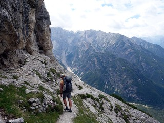 On the 6A trail beneath Monte Piana