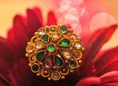 "Macro Mondays ""Queen"" - The royal ring👸💍 (Swapna Vasisht) Tags: hmm macromondays ring queen bokeh colourfulbokeh emerald diamond gold bigrings wedding weddingrings"
