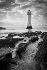 New Brighton Lighthouse (Sandy Sharples) Tags: newbrighton lighthouse seascape seaside blackandwhite monochrome england travel beach rocks structure