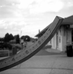 sundial (bergytone) Tags: bw blackandwhite film welta weltax jena zeiss tessar 28 fuji neopan acros xtol focustest bokeh 6x6 medium format 120 roll sundial grandhaven michigan