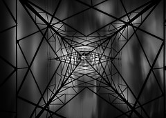 Web of Power (Mick Blakey) Tags: cables danger nationalgrid monochrome slowexposure power metal electricity black shock contrast pylon structure white