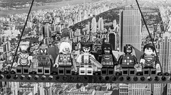 Superheros Atop a Skyscraper (Aleem Yousaf) Tags: superheros atop skyscraper batman superman captainamerica wolverine fictional characters spiderman ironman thor lego actionfigure newyork manhattan rockefeller centralpark greyscale monochrome photograph construction skyline plaza