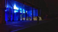 Saturday night running (geka32) Tags: night running dark field stadium blue girl silhouette light lines curve outdoor blur
