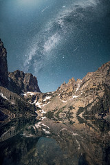 Emerald Lake (Kevin Dinkel) Tags: night wander under landscape milkyway alpine nature reflection dinkel lake snow trees national kevin photography epic awe peaks rocky mountains shooting vertirama panorama jagged nightscape galaxy blue adventure cyan beautiful travel dark hiking universe space park wonder emerald stars mountain