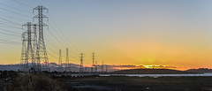 substation sunset (pbo31) Tags: bayarea california nikon d810 color july 2017 summer boury pbo31 sunset sky orange silhouette transmission power lines energy bay sealpointpark shoreline sanmateo sanmateocounty panoramic large stitched panorama fog infinity wetlands shore substation vintagepark