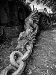 A Dragon on a chain. (All I want for Christmas is a Leica) Tags: monochrome blackwhite dragon woodwork carving outdoors