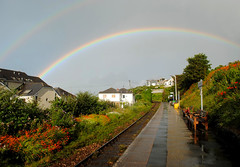 Over the rainbow at Carbis Bay (zawtowers) Tags: cornwall kernow carbis bay porth reb tor railway train station platform rain rainbow curve arc sunshine showers wet friday 21st july allthestations