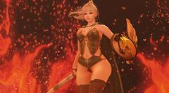 """""""Wrath"""" (ƛƦƳƛ ƊƦƛƓƠƝƁƠƦƝ (The Wandering Herba) Tags: maitreya pfc sword wonderwoman yumyum moonelixir catya shieldmaiden elf catwa fire warrior princess"""