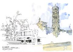 Uzès, Gard (gerard michel) Tags: france languedocroussillon gard uzès roman architecture sketch croquis aquarelle watercolour
