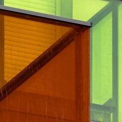 balcony abstract (morbs06) Tags: 2017 france nantes paysdelaloire abstract architecture balcony balustrade building colour facade green housing light lines orange shutters square stripes windows