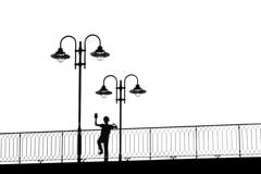 Drei (tan.ja1212) Tags: brücke bridge geländer railing junge boy schwarzweis monochrom laterne lantern