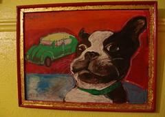 ivan's drivin' -2005 (EllenJo) Tags: oilpastel ivan art portrait bostonterrier 2005 cute silly dogart ellenjo