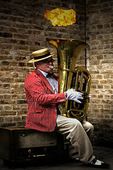 Street Entertainer (andycurrey2) Tags: smileonsaturday vintage old fashion hat instrument entertainment street london outdoor canon digital musicismagic fire flame artist colours music