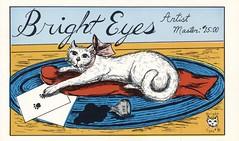 Bright Eyes #31: Bright Eyes - Everett, Washington (73sand88s by Cardboard America) Tags: vintage qsl cbradio cb qslcard cat brighteyes artistcard