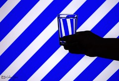 Reflection (Sarhang G.Hariri) Tags: reflection lines stripes blue glass water hand iraq kurdistan erbil hawler