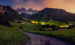 Night Pano in Funes (Iván F.) Tags: pano panorama funes italy dolomiti explore explorer exploration nightscape long exposure church mountain travel tourism sony a7r ilce7 samyang 20mm 18 landscape landscapes night star stars road green grass old