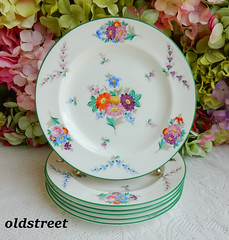 Antique Wedgwood English Porcelain Luncheon Plates ~ X6915 ~ Enameled Flowers (Donna's Collectables) Tags: antique wedgwood english porcelain luncheon plates ~ x6915 enameled flowers