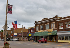 Main Street - Downtown Crosby, Minnesota (Tony Webster) Tags: americanflag crosby mainstreet minnesota downtown smalltown town unitedstates us wmc1830