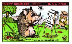 Dirty Doodler #475: Dirty Doodler - Hoquiam, Washington (73sand88s by Cardboard America) Tags: qsl qslcard cb cbradio vintage artistcard washington