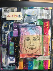 Outline (opal c) Tags: collage acrylic pattern tissue multimedia sketch