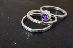 trio of stacking rings for Macro Mondays: Three - explored (quietpurplehaze07) Tags: rings daughter silversmith three macromondays silver macro slate