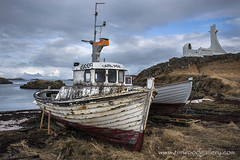 STYKKISHOLMUR FISHING BOATS....ICELAND. (IMAGES OF WALES.... (TIMWOOD)) Tags: iceland hringvegur route 1 roadtrip snaefullsness road fishing boats church island town village bay tim wood gallery storm stormy sky fjord west