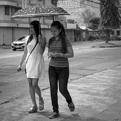 Not Going to Look.... (Beegee49) Tags: street walking filipina umbrella city philippines bacolod
