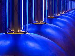 A Chorus Line (katrin glaesmann) Tags: münchen munich tube station ubahn metro mvg workshop u1 u7 westfriedhof architekturbüroauerweber ingomaurer 1998 lights lamps inline blue