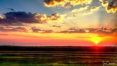 Morning in America (iecharleton) Tags: sunrise morning landscape devislake northdakota amtrak prairie greatplains sky clouds dawn farmland sunbeams windfarm windmill powerlines