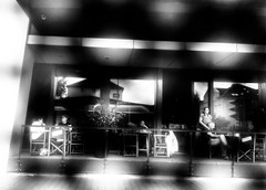 Cafe at the morning (A. Yousuf Kurniawan) Tags: blackandwhite monochrome people urbanlife streetlife streetphotography streetphoto cafe cameraphone cameraphonestreet phonestreet activity morning abstract frame decisivemoment